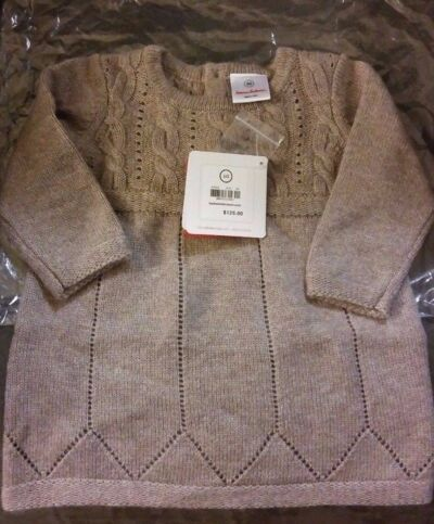 NEW cashmere/Luxe baby sweater dress by Hanna Anderson, Driftwood,NWT, EUR 60