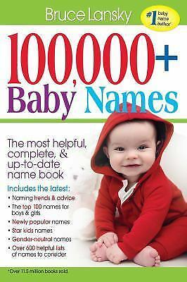 100,000 + BABY NAMES:The Most Complete Baby Name Book, Lansky, Bruce, Good Book
