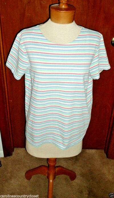JACLYN SMITH TOP~Pastel Stripe~Short Sleeve~Miss Size Large~FREE SHIP