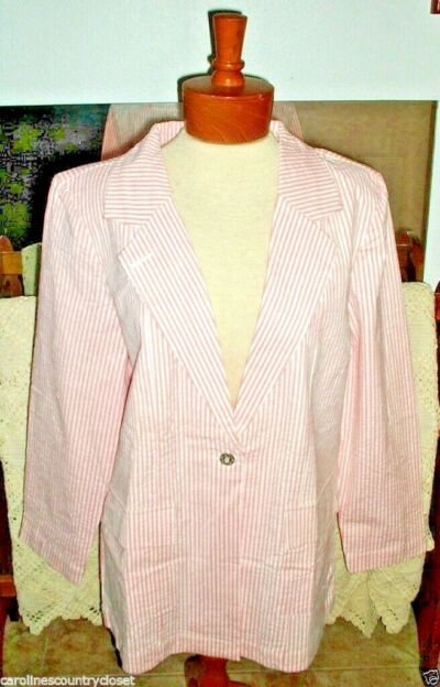 DENIM & CO. BLAZER~Colors Vary~Seersucker~Padded Shoulders~Miss S.~NWT~FREE SHIP