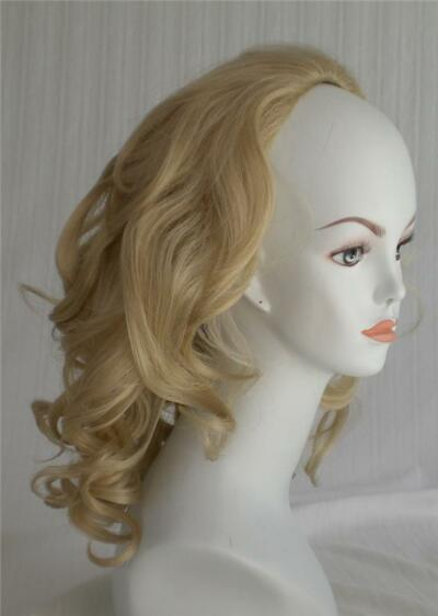 100% Kanekolan Fiber 3/4 cap Fall Hair Extension Piece Shoulder Length Wavy
