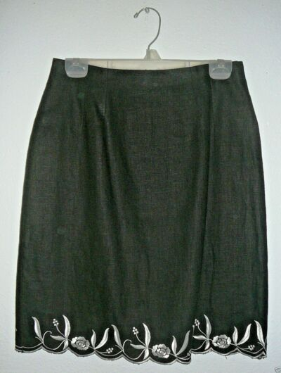 TRIBECA SKIRT~Black~Embroidered Bottom~Lined~Miss~Petite Size 10~FREE SHIP