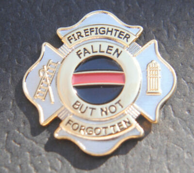 Thin Red Line Maltese Cross Fallen Fire FireFighter 9/11 9-11 Memorial Lapel Pin