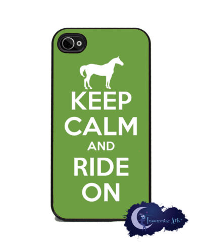 Keep Calm and Ride On - Green iPhone 4/4s Slim Case Cell Phone Cover - Horse