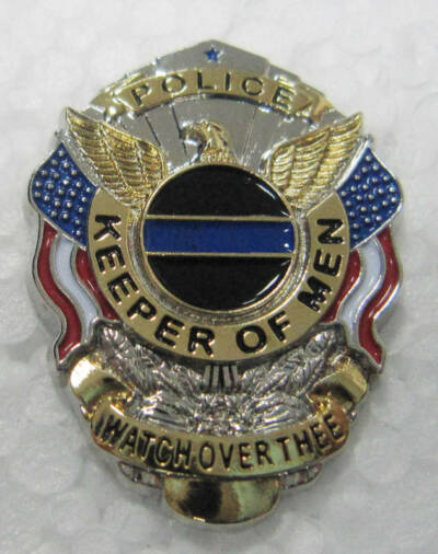 Keeper of Men Police Law Enforcement Thin Blue Line Memorial Badge Talisman