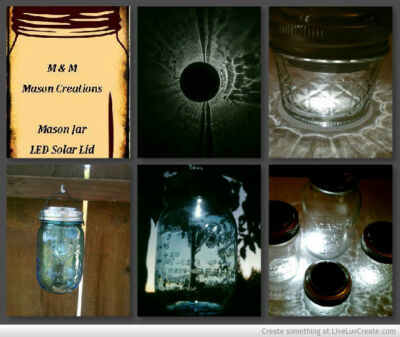 4 DIY Solar Power Mason Jar LED Lights Lids O-ring, & on/off switch with hangers