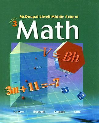 Middle School Math: Course 3, Ron Larson, Boswell, Good Book