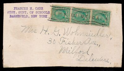 1930s 4th Class Mail - Utica, New York to Milford, Delaware - 692 x3 on Piece