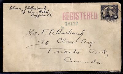 1926 Registered - Buffalo, New York to Toronto, Canada -2c Treaty & 15c Reg, 623