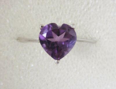 1 ct Amethyst Heart Ring in Sterling Silver sz 7