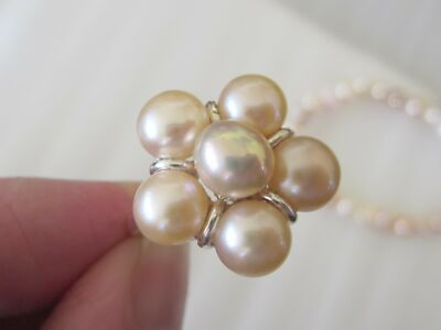 Peach Freshwater Pearl Ring & Bracelet Set in Sterling Silver, Ring sz 8