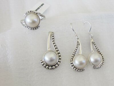 Mabe Ring, Pendant and Earring Set, Sterling Silver, Ring sz 7