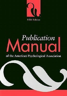 Publication Manual of the American Psychological Association, American Psycholog