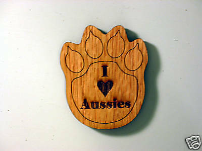 "I Love Aussies 2 ½ x 2"" Foot Print Wood Magnet"
