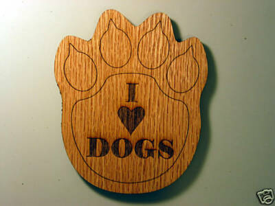 "I Love Dogs 2 ½ x 2"" Foot Print Wood Magnet"