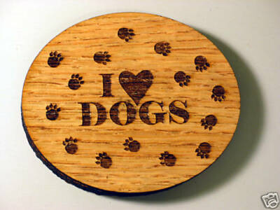 "I Love Dogs 2 7/8"" Oval Wood Magnet"