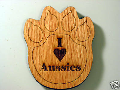 I Love Aussies Australian Shepherd Wood Print Coaster