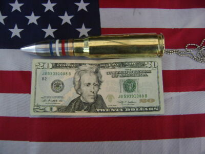 "20mm  Bullet  Necklace PENDANT Military 28"" BALL CHAIN (USA) STRIPS"