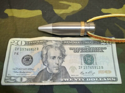 20mm  VULCAN RARE TRACER  Bullet tip  Necklace Pendant TAN LEATHER 40""