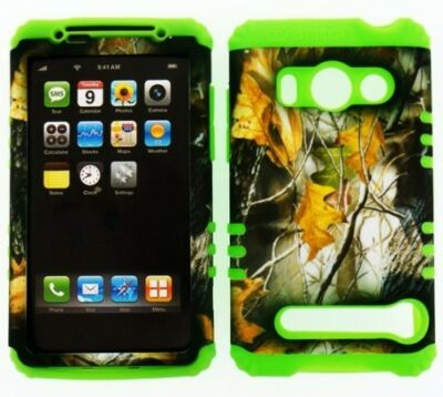 HYBRID Silicone+Cover Case for Sprint HTC EVO 4G Camo Mossy Dry Leaves on Lime