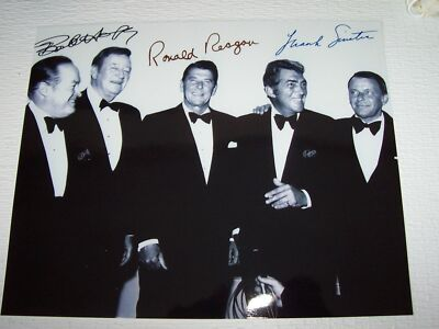 "FRANK SINATRA BOB HOPE RONALD REAGAN SIGNED AUTOGRAPH PHOTO 8"" X 10"" MINT"