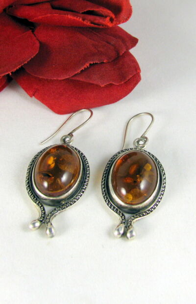 Sterling Silver 13g Amber Cabochon  Pierced Earrings  CAT RESCUE