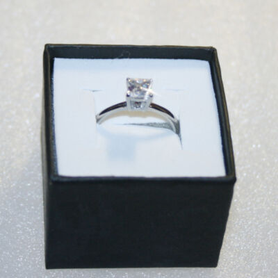 14k White Gold over Base Princess Diamond Alternatives Solitaire Promise Ring