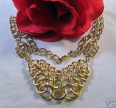 Ornate Glold tone Woven Necklace CHARITY CAT  RESCUE
