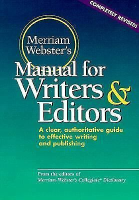 Merriam-Webster's Manual for Writers and Editors, Merriam-Webster, Good Conditio