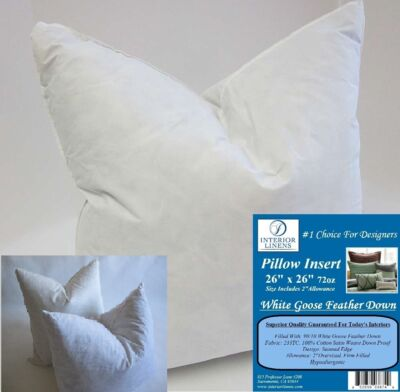 "2 - 26"" x 26"" 72oz. Pillow Insert: White Goose Down - 2"" Oversized & Firm Filled"