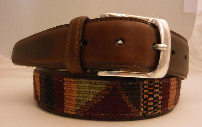 Brighton Livingston Multi-Color Belt Sizes 30, 32, 34  Made in USA Silver Plated