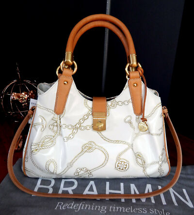 BRAHMIN Leather Elisa Nautical Hobo w/Detach. Strap + Dust Bag  NWT $465 + tax
