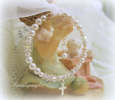 Swarovski pearl baby girls childs BAPTISM CHRISTENING bangle cross bracelet