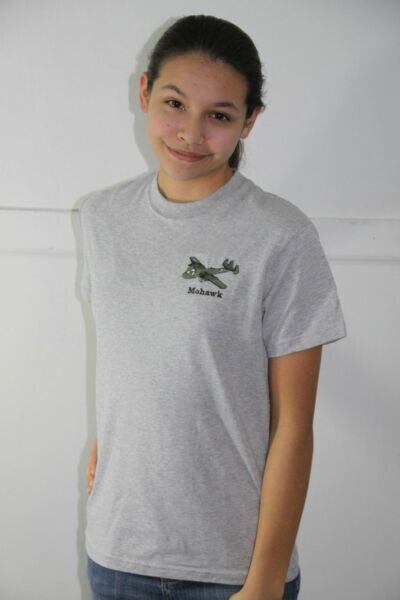 Mohawk, Grumman, Heather Grey Embroidered T-shirt