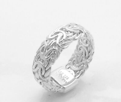 Domed Byzantine Link Band Ring Real 925 Sterling Silver