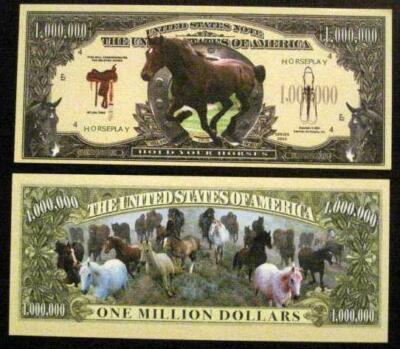 Beautiful Running Horses Novelty Dollar Bill Gift 4 Horse Friend Free Hard Case