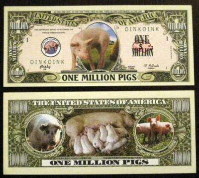 $1 Million Cute Fun Pigs Dollar Bill & Hard Case Great Gift Free Display Case Al