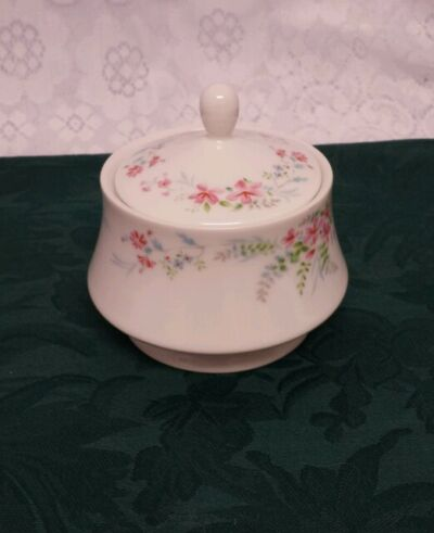 "MIKASA FERN ROSE FINE CHINA SUGAR DISH WITH LID L2005 ""RETIRED"""