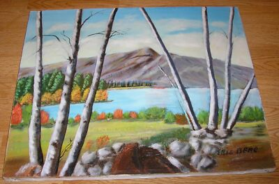 VINTAGE NATURE AUTUMN SEASON LAKE POND BIRCH TREES LISTED CA ARTIST OIL PAINTING