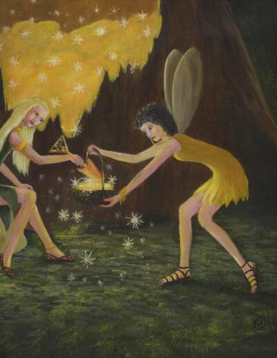 FAIRY FAIRIES NIGHT GOLDEN MAGIC STAR DUST ACORN TREE LISTED ARTIST OIL PAINTING