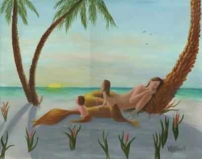 MERMAIDS GOLDEN SUNRISE MER CHILDREN PALM TREES FLOWERS LISTED ARTIST PAINTING