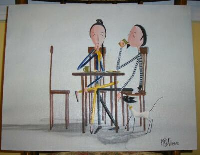NEW YORK CAFE BREAKFAST BACON EGGS SIAMESE CAT BEATNIK LISTED ARTIST PAINTING