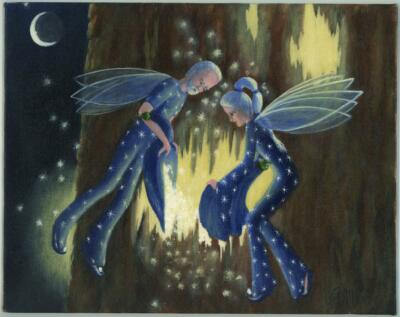 STAR DUST MORNING GLORY FLORA FAIRY FAIRIES TREE FOLK ART LISTED ARTIST PAINTING