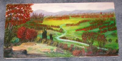 VINTAGE FOLK ART PRIMITIVE PASTURES HILLS VALLEY TREES WOODS LANDSCAPE PAINTING