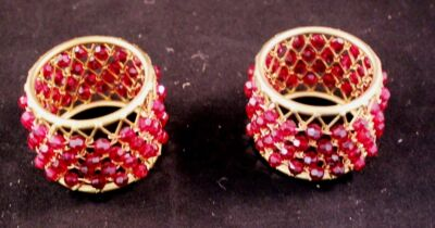 Pair of Vintage Brass Beaded Napkin Rings Made in Philippines