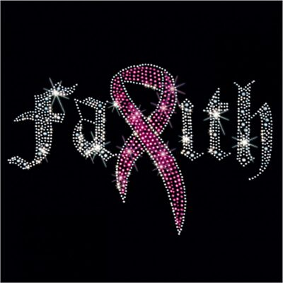 Breast Cancer Awareness Rhinestone T-Shirt - Sizes XS-4XL - Faith