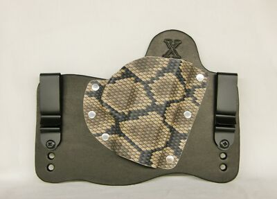 FoxX Leather & Kydex IWB Hybrid Holster (Pick Your Gun) Black & Rattlesnake RH
