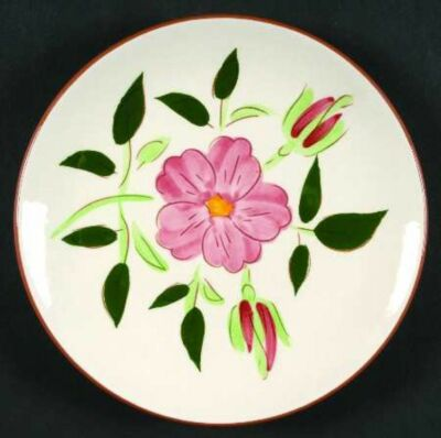 "Stangl Pottery WILD ROSE 6"" Dessert Plate Pink Flower Hand Carved & Painted NICE"