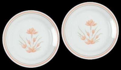 "2 Corelle PEACH FLORAL 7-1/4"" Salad Plates Retired 1991 Corning Pattern Flowers"