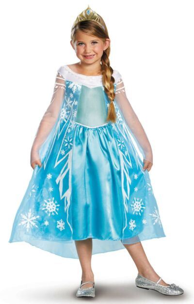 DISNEY Frozen Princess Elsa DELUXE Dress Cape Tiara Costume Toddler Child Girls